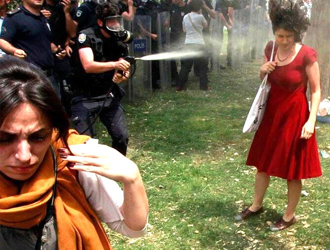 A girl getting sprayed pepper gas at Gezi Parki